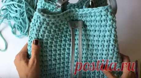 Стильная сумка-торба из трикотажной пряжи крючком