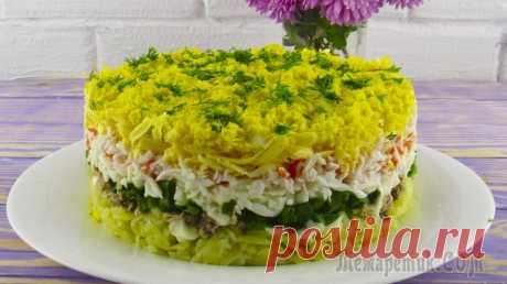 """Салат """"Аристократ"""" на праздничный стол из простых продуктов Приветствую всех. Сегодня я хочу с вами поделиться рецептом очень вкусного слоёного салата, называется он «Аристократ. Ингредиенты:картофель отварной - 300 грамм сардины в масле - 150 граммкрабовые па..."""