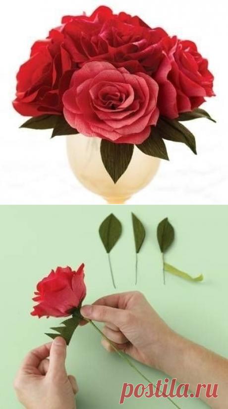 Смотрим, как сделать из гофрированной бумаги розу