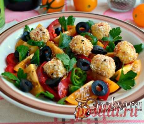 Салат из желтых томатов черри с сырными шариками фото рецепт приготовления