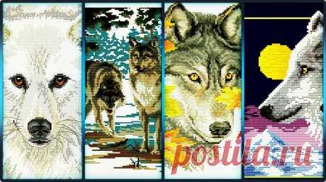 «Волчий взгляд» (4 схемы) Белые волки