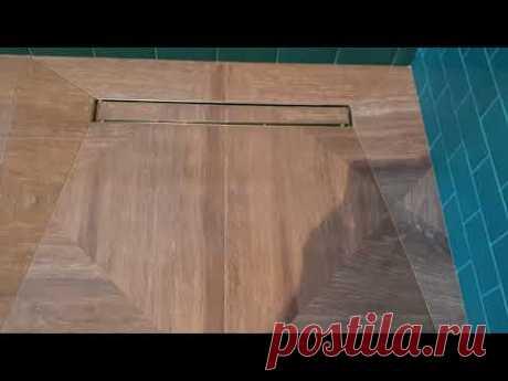 Безбортовой душевой поддон в строительном исполнении ,зеленый кабанчик , керамогранит 80х80 .