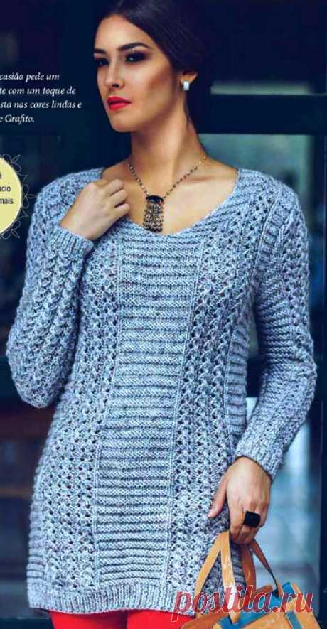 The extended pullover a pattern from openwork strips and platochny paths