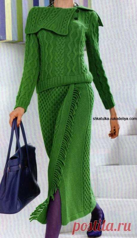 Зеленый костюм спицами Зеленый костюм спицами. Вязаный костюм спицами для женщин с описанием