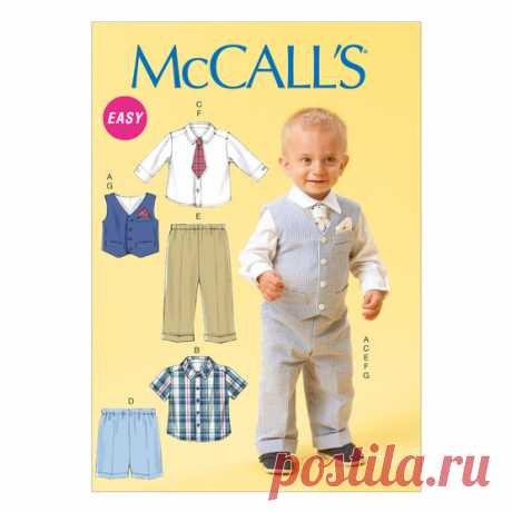 Infants' Vest, Shirt, Shorts, Pants, Tie and Pocket Square-All Sizes In One Envelope.