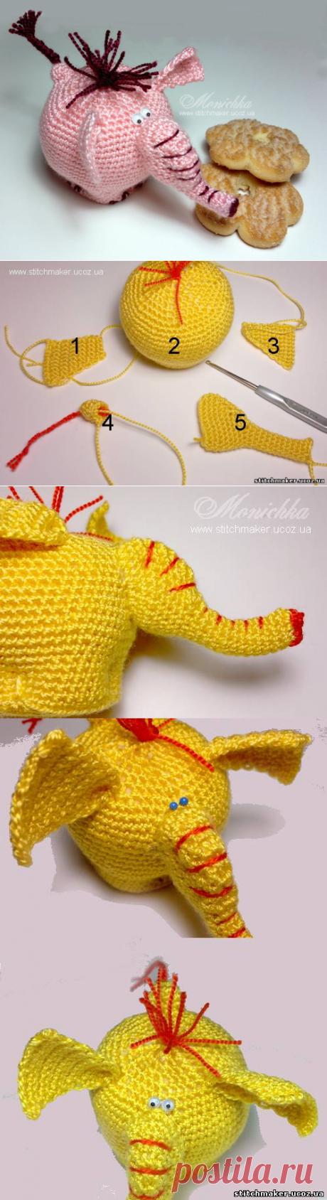 Слон Пончик - Мастер-классы по вязанию - Статьи о вышивке - Мастерская Stitchmaker.Авторские схемы М.Горшковой.