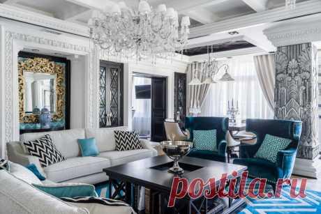 Шикарная квартира в постельных тонах. Присутствие бирюзового лишь подчеркивает изящность комнаты.