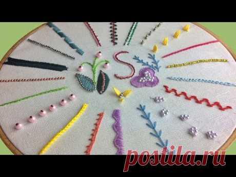 Вышивка гладью основные стежки с использованием крючка, бисера и бусин | Embroidery for Beginners