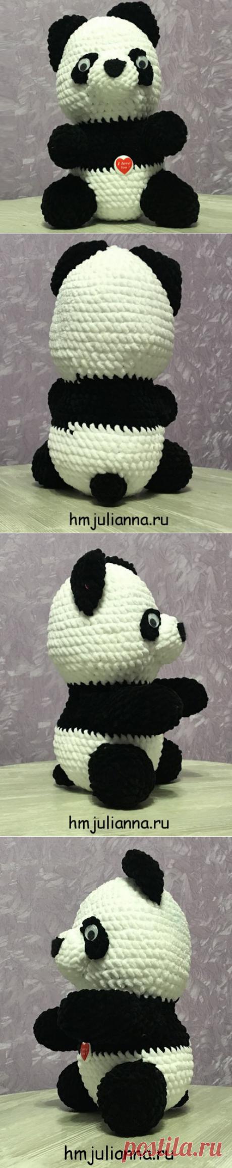 Плюшевая игрушка Панда, связана крючком из плюшевой пряжи, 30смМастерская рукоделия Анны Ганоцкой