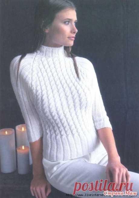 """Белый свитер-реглан со жгутами """"Снежный вихрь"""" - Вязание спицами - Страна Мам"""