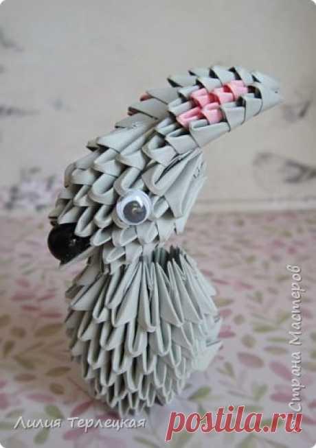 """Фигурка из модульного оригами """"Серый кролик"""""""