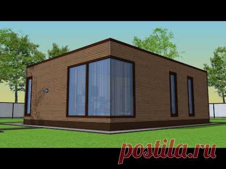 Проект дома 7 на 9 | альтернатива 8 на 8 (Дом с просторной гостиной и двумя спальнями)