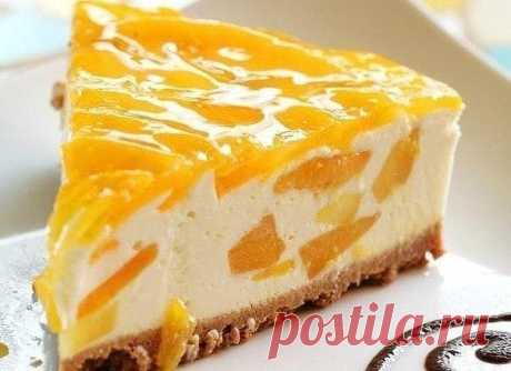 Peach cheesecake without pastries Ingredients: ● 200 gr Anniversary cookies ● 100 gr butter ● 400 gr cottage cheese ● 200 ml of 30% of cream ● 100 gr sugar ● 30 gr gelatin ● 2nd banks of peaches ● Vanillin Preparation: It is better to do such cheesecake in a demountable form, from usual you will not get it, and to cut cold cheesecake in shape — doubtful pleasure. At first it is necessary to part 15 grams of gelatin in the amount of water specified on a package and to leave to bulk up for 30 minutes. From peaches (about 1 banks) to merge …