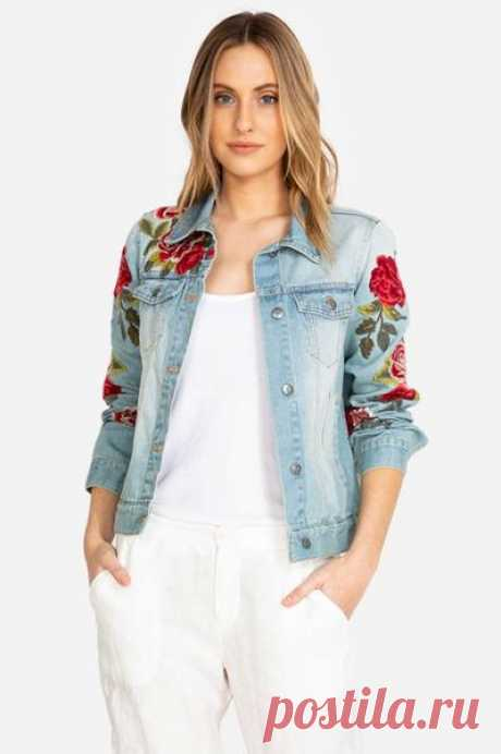 Johnny Was RAISA DENIM JACKET Jean Flower Red Blue Embroidery Small S – Bag Lady Shop