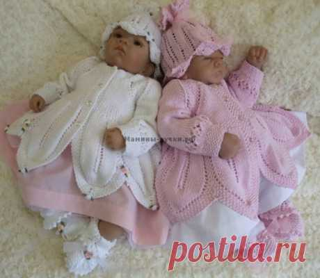 чудесный комплект для новорожденных | Вязание спицами для детей