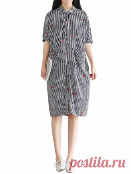 Women Vertical Stripe Blouse Stand Collar Short Sleeve Long Shirt Dress - US$30.99