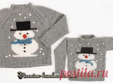 Детский пуловер со снеговиком | Russian-Handmade