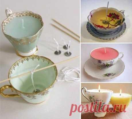Свеча в чашке - лук пользователя Оксана. Фото находится в альбоме Свечи своими руками.