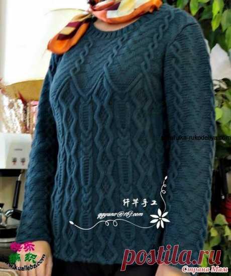 Узорчатый пуловер спицами. Женский удлиненный пуловер с аранами | Шкатулка рукоделия. Сайт для рукодельниц.