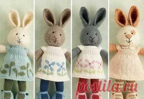 Вязаные спицами зайцы / Вязание