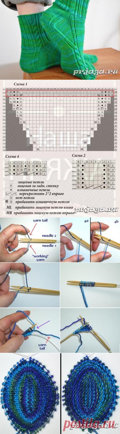 Носки спицами от мыска с анатомической вставкой