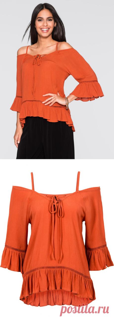 Блузка с открытыми плечами оранжево-красный - Для женщин - bonprix.ru
