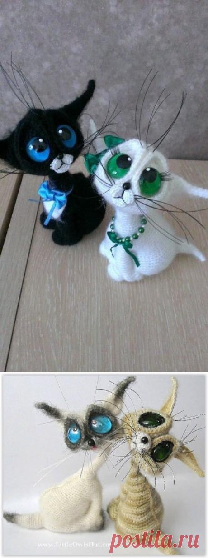¡Los gatitos amables con los ojos enormes, vyazannye por el gancho!