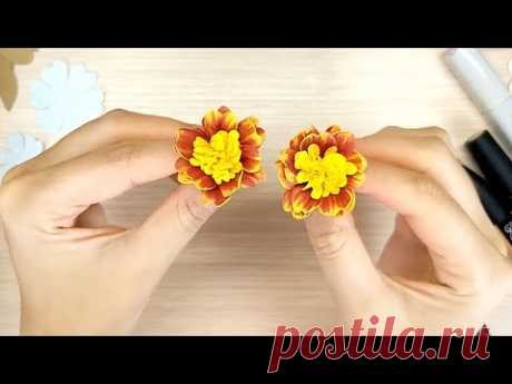Бархатцы из фоамирана как настоящие (вариант 2) 😍 Цветы своими руками / foamiran marigolds DIY