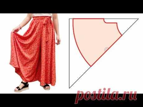 Очень легко сделай сам, длинная разделенная юбка / юбка-брюки   Вырежьте и сшейте брюки-палаццо