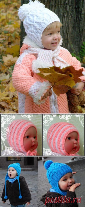 Вязание шапочек для детей от 0 до 3 лет с описанием и схемами спицами: модели