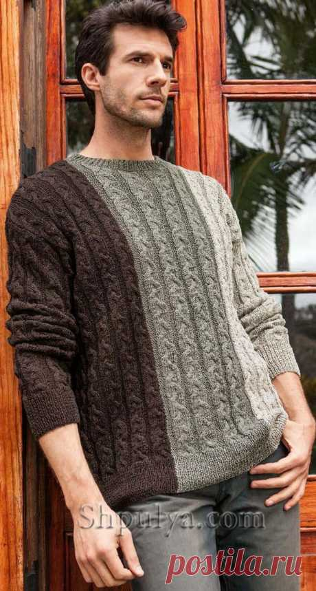 Разноцветный мужской пуловер с косами