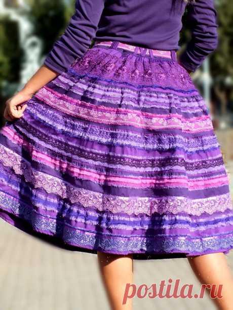 """Купить Бохо-юбка """"Магия лилового"""" для Ирины - бохо-стиль, бохо-шик, дизайнерская одежда"""