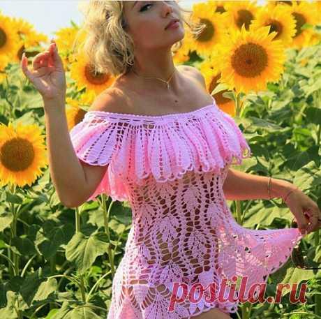 #волшебныйкрючок_лето#волшебныйкрючок_туника#крючком#вязание#схема#лето#волшебныйкрючок_платье