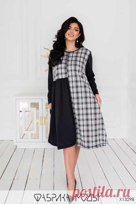 Платье в клетку X13298 Фабрика Моды