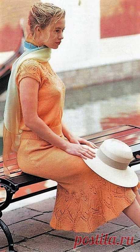 Топ и юбка-годе с ажурной вязкой