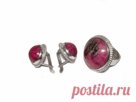 Комплект серьги, кольцо. Рубин в цоизите. (6288695602) - Aukro.ua – больше чем аукцион