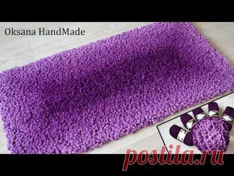 Теплый, плюшевый коврик Alize Puffy Fine Ombre Batik. Новый способ вязания.