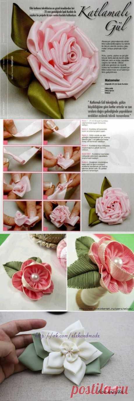 (+1) тема - Красивые цветы на заколку из лент | СДЕЛАЙ САМ!