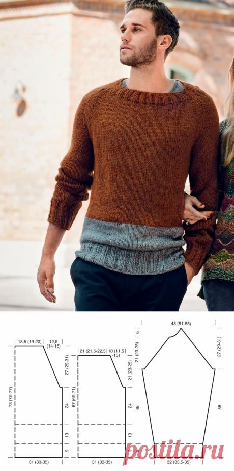 Мужской джемпер с рукавами реглан — схема вязания спицами с описанием на BurdaStyle.ru