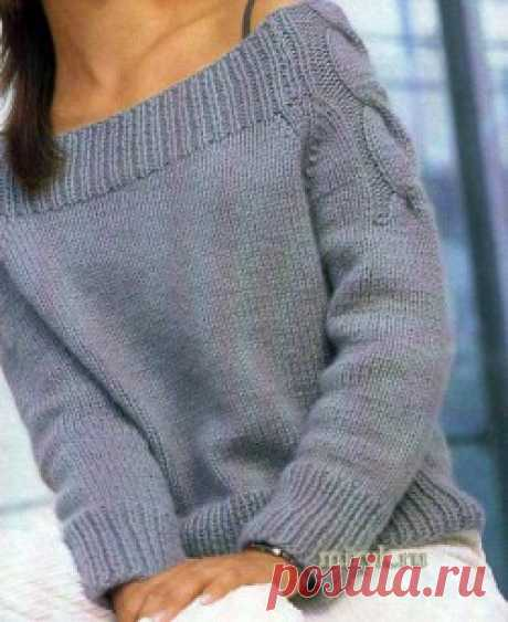 Серый пуловер реглан с косами   вязание спицами схемы с описанием