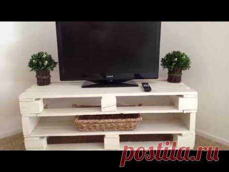 Стол тумба под телевизор из поддонов паллет своими руками DIY