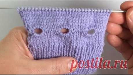 Декоративное отверстие для шнуровки вязанных изделий / Вязание спицами