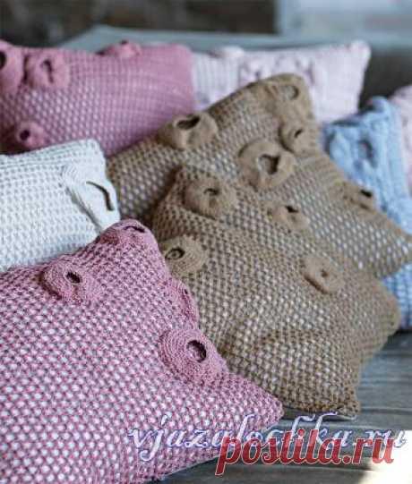 "Covers on pillows \""The mole holes\"". Hook. \/ vjazalochka.ru"