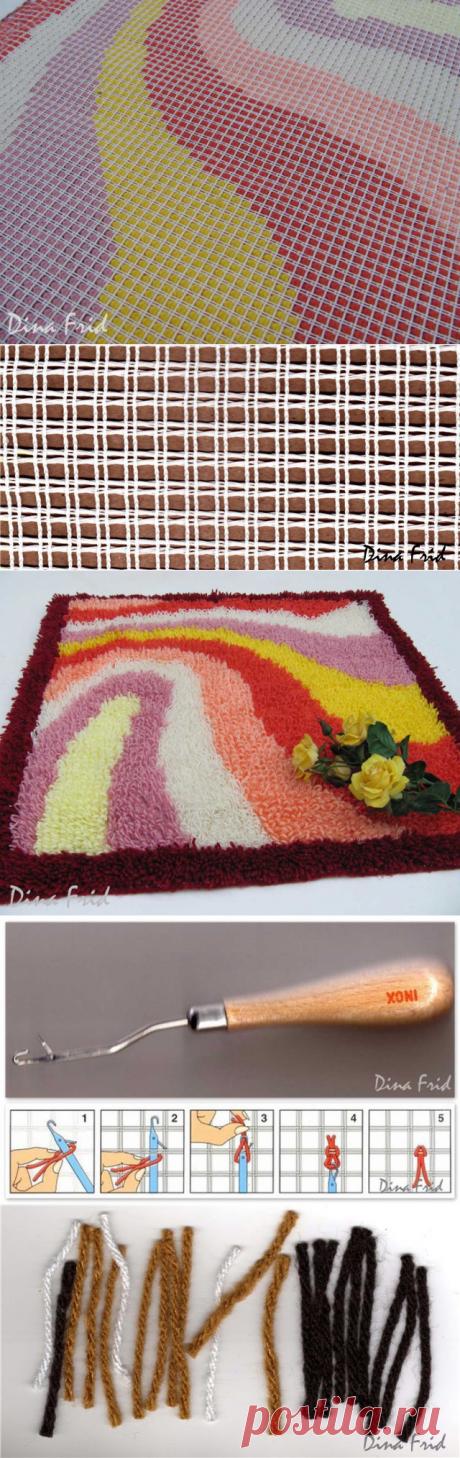 Яркие пушистые коврики из остатков пряжи — Сделай сам, идеи для творчества - DIY Ideas