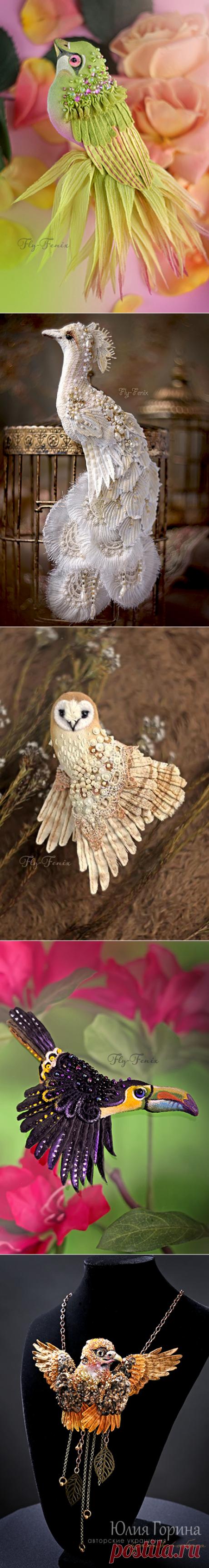 Amazing birds brooches by Julia Gorina