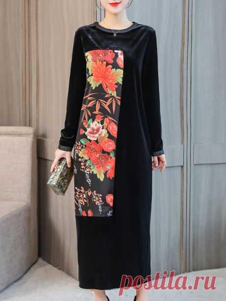 Hot saleЦветочный принт пэчворк Бархат с длинным рукавом Винтаж Платье Cheap - NewChic
