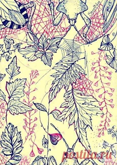 «Клопы и листья» картина Марченко Натальи (бумага, ручка) — купить на ArtNow.ru