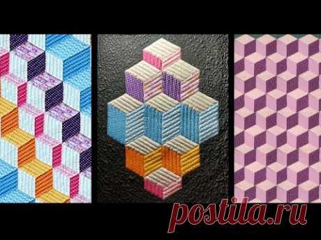 """Пэчворк для начинающих. 3D блок """"куб"""" быстрым способом. Расчет размеров и варианты раскладки."""
