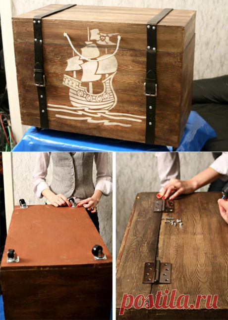 Piracy wooden chest the hands