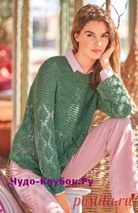Зеленый пуловер с круглой кокеткой вязаный спицами 1893 | ✺❁сайт ЧУДО-клубок ❣ ❂✺Круглая кокетка, выполненная платочной вязкой и большие ажурные ромбы прекрасно сочетаются в этом пуловере. Особенно неотразимо сочетание холодного ❂ ►►➤6 000 ✿моделей вязания ❣❣❣ 70 000 узоров►►Заходите❣❣ %